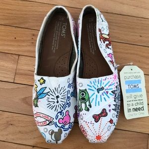 Toms white shoe with hand painted Disney theme